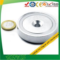 Ø60mm embuchado magnético de neodímio com furo central escareado